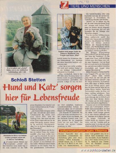 Katze Hund Residenz Schloss Stetten, Haustiere Residenz Schloss Stetten, Tiere und Menschen Schloss Stetten