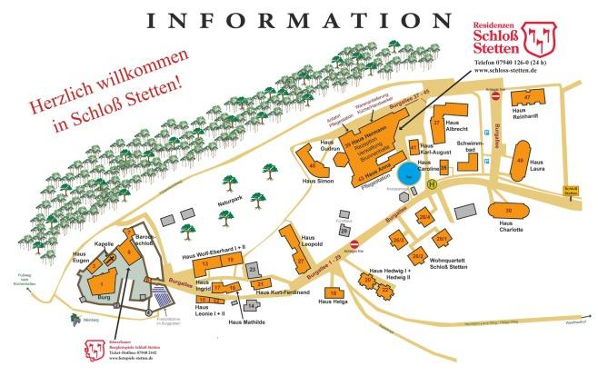 Lageplan Schloss Stetten, Residenz Schloss Stetten, betreutes Wohnen Stetten